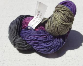 Potluck Yarn, Potluck Worssted Yarn, Purple, Green, Blue, Yarn Destash