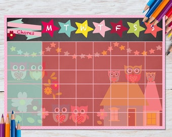 Toddler Reward Chart, Girl, Owl, Bunting, Routine, Homework, Chore Chart, Print your size, Potty Training, Children,  Teeth, Printable