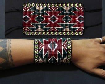 Aztec Inca Native American Beaded Bracelet, Wide Geometric Cuff Bracelet, Beaded Wrist Band, Native American Jewelry, Seed Beads