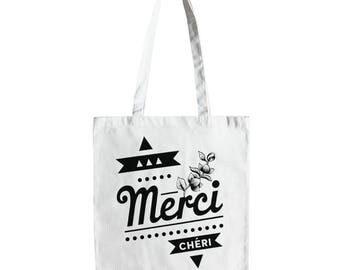 Cotton black and white tote bag, flowers and typography - french words