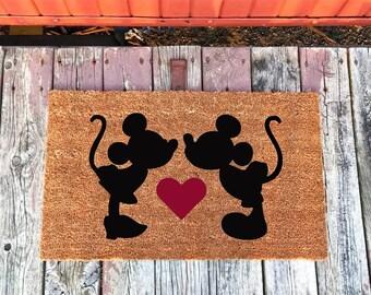 2 Sizes - Mickey and Minnie -  Disney - Coir Door Mat - Doormat - 18 x 30 and 24 x 31.5 - Welcome Mat - Housewarming Gift
