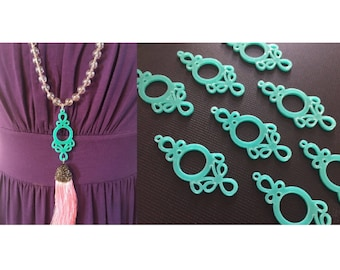 Mint Green Tassel Connector, Focal point for tassel necklaces, green connector bead, 2 hole laser cut tassel bead, long mint statement neck