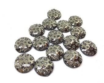 12mm Druzy Cabochons, GRAY polka dots, jewelry making kit, earring set, diy jewelry, druzy studs, 12mm Druzy, cabochon, stud earrings, gray