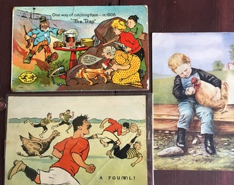 Antique Chicken Rooster Soccer postcard declares A FOWL? set of 3 cool cards