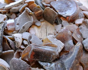 Crushed Sea Glass, 900gr, Craft Grade, Imperfect, Brown Sea Glass, Genuine Sea Glass, Bulk Beach Glass, Glass Shards, Mosaic Glass Tiles