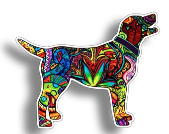 Lab Labrador Graffiti Watercolor Dog Sticker Die Cut Digitally Printed Vinyl Graphic for Cup Cooler Car Truck Window