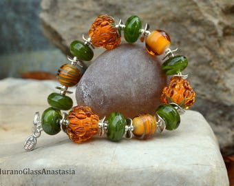 Bracelet with honey berries of Murano glass