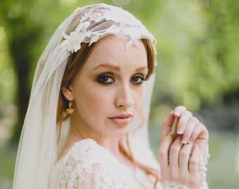wedding veil, juliet veil, SALE drape veil, lace veil, bridal veil , juliet cap