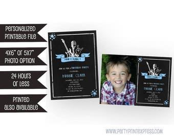 Printable Rockstar Birthday Invitations - Rock Star Invitation - Boy Guitar Invitations - Chalk Rockstar Invites - DIY Party Invitations