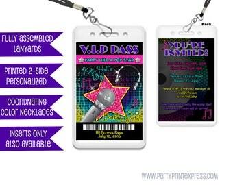 Pop Star Invitations - Rock Star Birthday Invitations - Music Birthday Invite - Rockstar Diva VIP Pass Lanyard Invitation Girls Karaoke