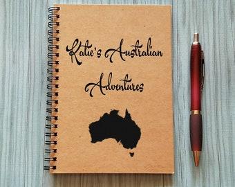 Travel Notebook, [Custom Name]'s Australian Adventures - 5 x 7 Journal, Adventure Notebook, Travel Journal,  Diary, Australia, Trip