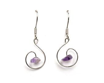 Earrings amethyst healing crystals and stones earring natural purple amethyst gemstone jewelry handmade earring genuine amethyst jewel aywin