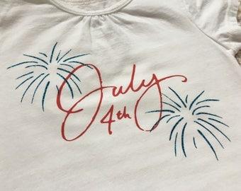 July 4th Fireworks Glitter Girls Shirt/Tank