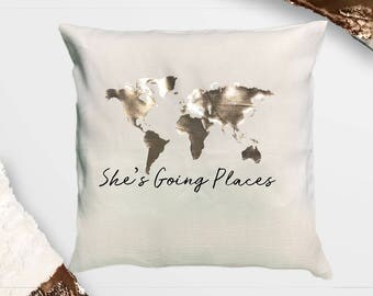 """She's Going Places Throw Pillow With Insert 12""""x16"""", 16""""'x16"""", 18x18"""", 20""""x20"""""""