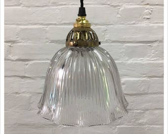 Industrial Vintage 1950s Glass Holophane School Light Pendant Shade