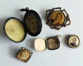 Antique photo medaillon lot
