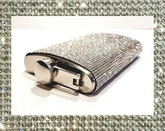 Super BLING Clear Crystal Rhinestone 6oz or 8oz Party Stainless Steel Hip Whisky Vodka Flask w/ Matching Funnel