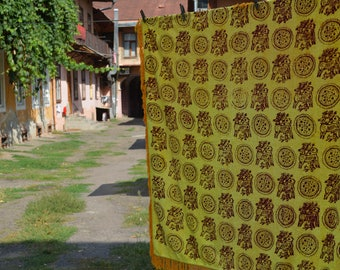 Vintage 1970's Luxurious Plush Velvet Yellow Brown Bedspread or Tablecloth with Fringed Edging - Home decor - Made in USSR
