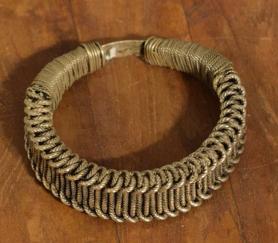 Chinese Bracelet Miao/Hmong Silver Bangle Tribal Jewelry Silver Woven Bangle Bracelet