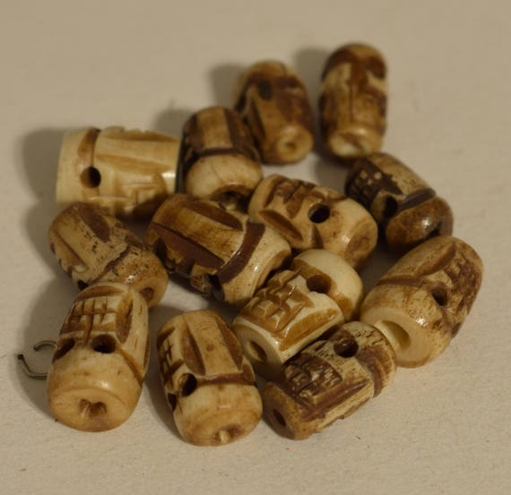 Beads Indonesian Bone Skull Beads Stained Carved Necklace Jewelry Bone Skull Beads