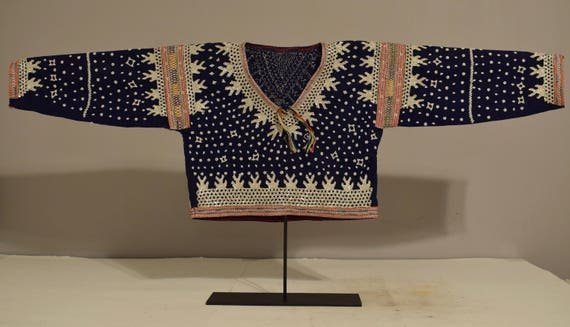 Philippines 1960's Blouse Albong Bilaan People Mother of Pearl Sequin Ceremonial Shell Blouse