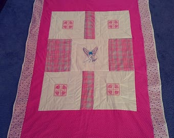 This is a butterfly and hearts embroidered lap quilt handmade pinkladycottage