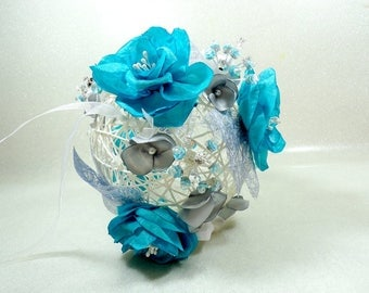 Gray pearls white flowered ball jewelry turquoise bouquet bridal bouquet