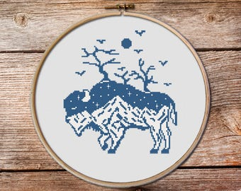 Buffalo day and night, Buffalo Cross Stitch pattern, keeper of the night cross stitch pattern, totem animals, mountains cross stitch #004