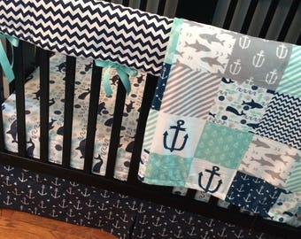 Custom Crib Bedding Set, Made to Order, Mint, gray, navy, nautical, crib skirt, sheet, baby blanket