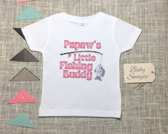 Papaw's Little Fishing Buddy Cute Funny Baby Boy One Piece Bodysuit Toddler Kids Children's T-shirt