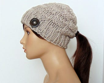 Beanie with Ponytail Hole - Ponytail Hat - Chunky Knit - Low Pony Tail Hole Hat - Gift for Her - Made in Alaska - Gift Under 25 - Taupe