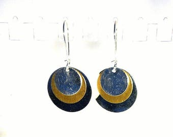 Earrings sleepers bronze sequins round silver and bronze