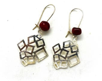 Red geometric silver fancy Stud Earrings