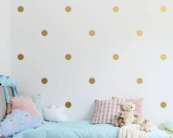 Polka Dot Wall Decals   Gold Confetti Wall Decal Set   Unique Vinyl Wall  Decals,