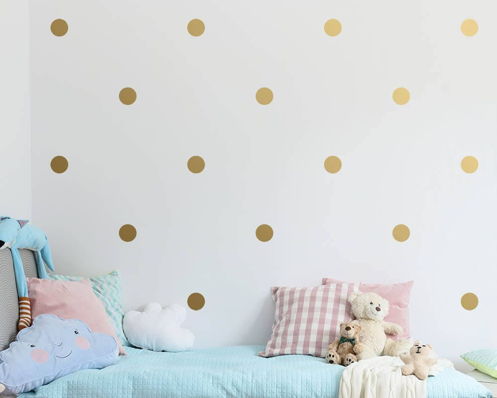 Polka dot wall decals gold confetti wall decal set unique zoom amipublicfo Images