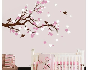 Cherry Blossom Branch Wall Decal with Birds, Cherry Tree Decal, Flower Decals