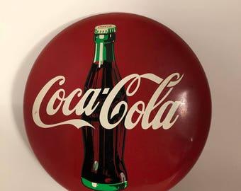 Metal Coca Cola Sign c1990; Old Coke Sign; Handpainted Coca Cola Sign; Coke Wall Decor; Coca Cola Wall Hanging