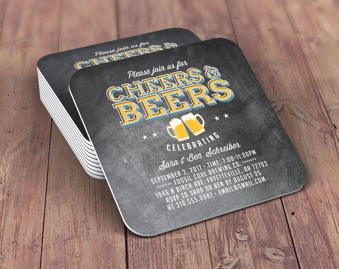 Personalized Coaster, brews before the I do's , Coed wedding shower invitation- Beer- Cheers & Beers  -  BBQ, bridal shower, wedding