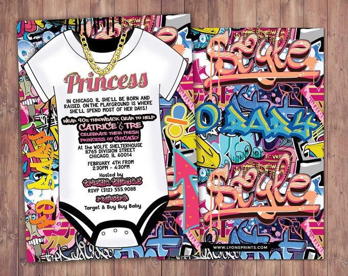 Fresh Prince, Baby Shower, Hip Hop, Swagger, 90s, backstage pass, birthday invitation, Graffiti, birthday, DJ, 90s party, 80s party, Diva