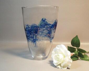 Hand Blown Art Glass Vase w/Oil Spill & Glitter Abstract Design Signed