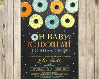 CHALKBOARD DONUT BABY Shower Invitation, Teal Orange Yellow Baby Shower Invite, Baby Sprinkle, Donut Want to Miss, Doughnuts and Diapers