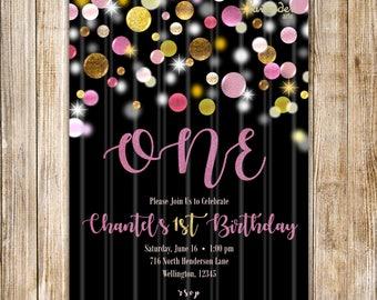 Girl FIRST BIRTHDAY Invitation, Girl 1ST Birthday Invite, ONE Birthday, Gold and Pink, Confetti Birthday, 2nd Birthday, Glitter Birthday