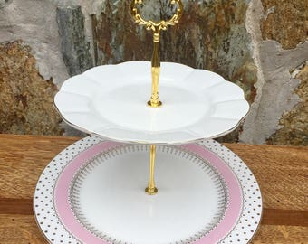 Pretty in pink cake stand jewelry stand cupcake stand bridal shower