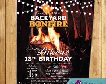 bonfire invitation etsy - Bonfire Party Invitations