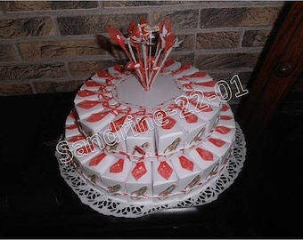 """44 cake boxes """"red and white"""" favors, tags wedding rings with Rhinestones"""