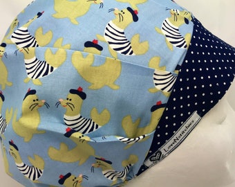French Seals Scrub Hats for Women bouffant Surgical Cap Medical Caps LoveNstitchies OR Nurse Tech Vet Navy Swiss Dots Seal Nautical Blue