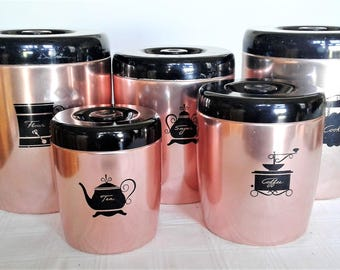 Vintage West Bend Copper Colored Canister Set Flour, Sugar, Coffee And Tea Plus The Matching  Cookie Tin