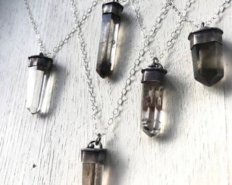 Petite Darklings- Lodolite and Smoky Quartz Crystal necklaces