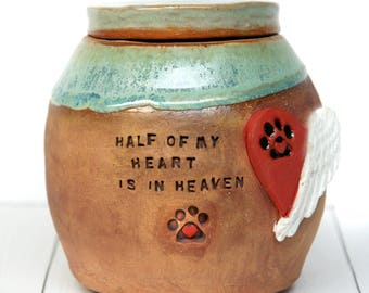FREE SHIPPING Personalized Made to Order Pottery Pet Cremation Urn w/ hand stamped quote,heart w/ paw print and angle wings dog urn cat urn