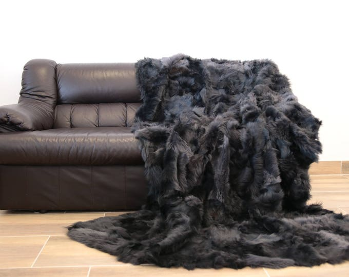 Exclusive Toscana Sheepskin Real Fur Throw | Real Fur Blanket | Gray Fur Throw | 150x200cm